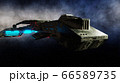 Futuristic space ship in . Earth planet wonderfull view. realistic metal surface . 3d rendering. 66589735