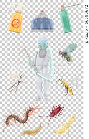 제거 작업 원과 해충의 수채화 손으로 그린 일러스트 66596672