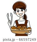 トングをもつパン屋の女性 66597249
