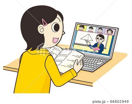 パソコンでオンライン授業 66602949