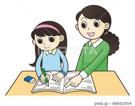子供の勉強を教える大人 66602954