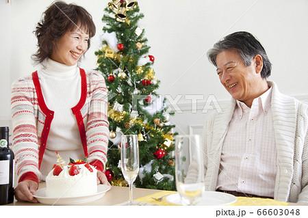クリスマスを祝うシニア夫婦 66603048