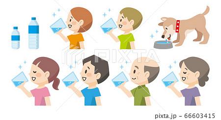 水を飲む人々や犬のイラストレーション 66603415