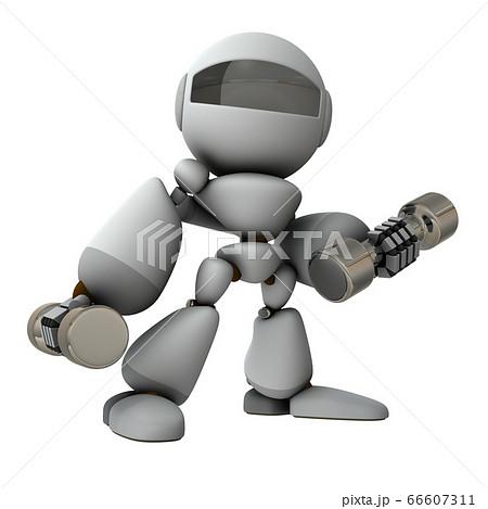 ダンベルを使って運動するロボット。3Dイラスト。 66607311