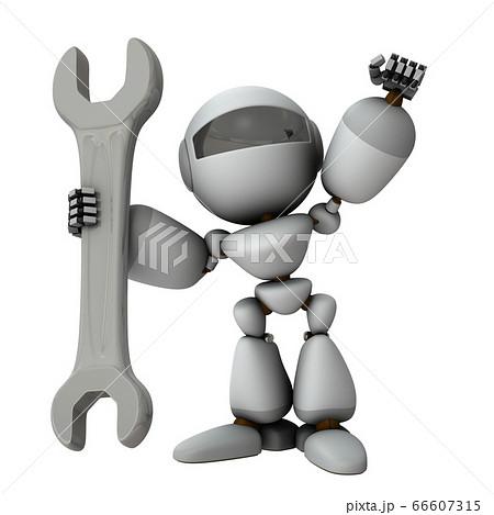 大きなレンチをもった人工知能のロボット。3Dイラスト。 66607315