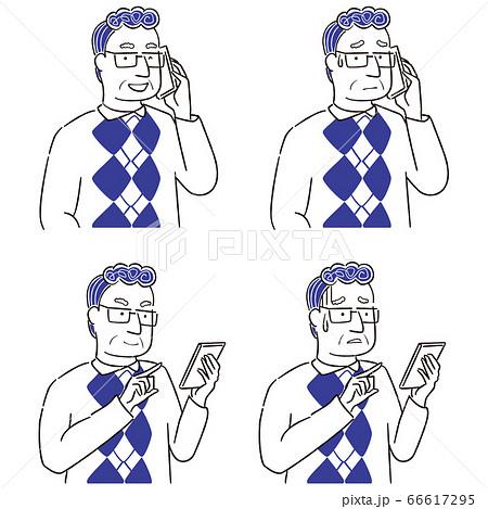 手描き1color シニアの男性眼鏡 スマートフォン操作 66617295