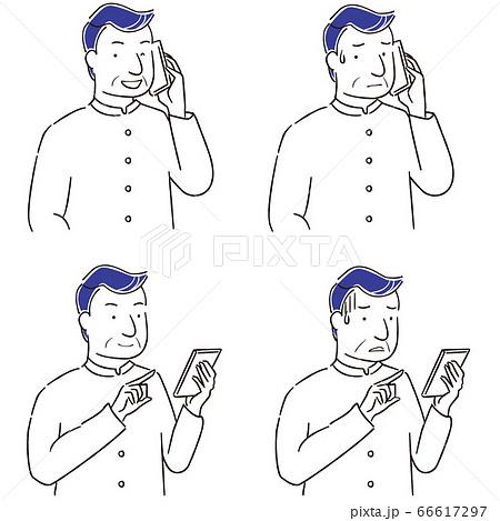 手描き1color シニアの男性 スマートフォン操作 66617297
