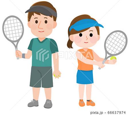 テニスをする 男性 女性 立つポーズ イラスト 66637974