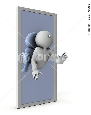 魔法の鏡。鏡に取り込まれ同化する。3Dイラスト。 66639563