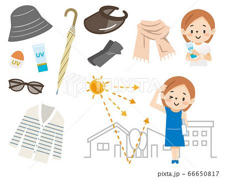 日焼け対策をする女性のイラストレーションのセット 66650817