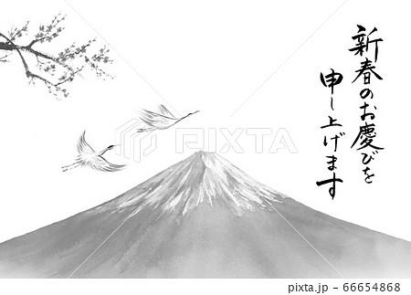 富士山と梅と鶴の水墨画 年賀状テンプレート  66654868