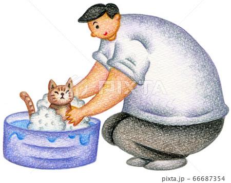 男性と飼い猫 66687354