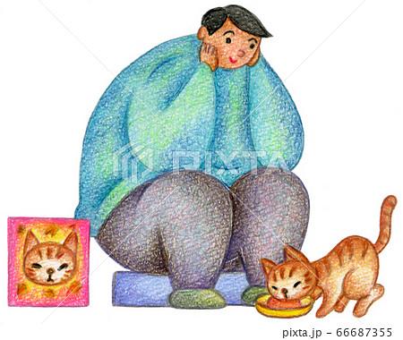 男性と飼い猫 66687355