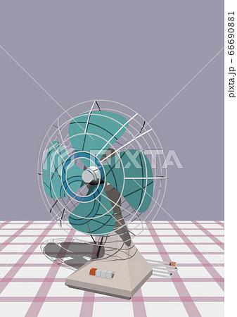 ベクターイラスト レトロなイメージの扇風機 背景あり 66690881