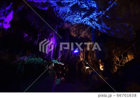 満奇洞 ライトアップされた幻想的な鍾乳洞の風景 66701638