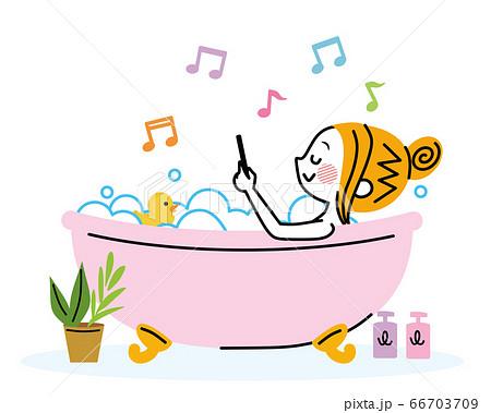 お風呂でスマホ 66703709