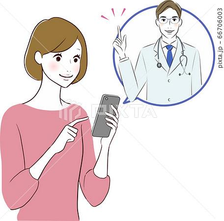 スマホで診療を受ける女性 66706003