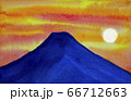 夕焼けの富士山 水彩画 66712663