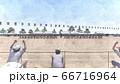 学校 運動会 綱引き 観客有り 建物有り イラスト19 66716964