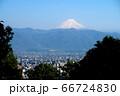 山梨県甲府市、湯村山、山頂展望台からの眺望と富士山 66724830