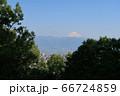 山梨県甲府市、湯村山、山頂展望台からの眺望と富士山 66724859