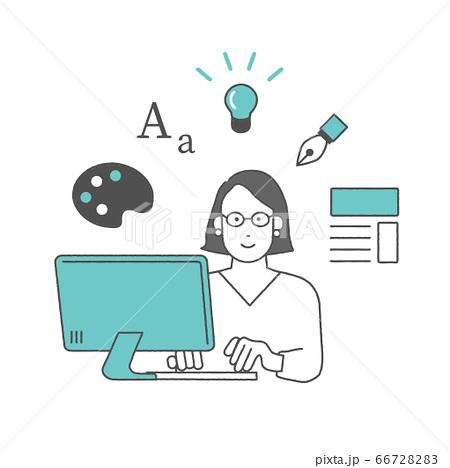 パソコンで作業をするクリエイター 66728283