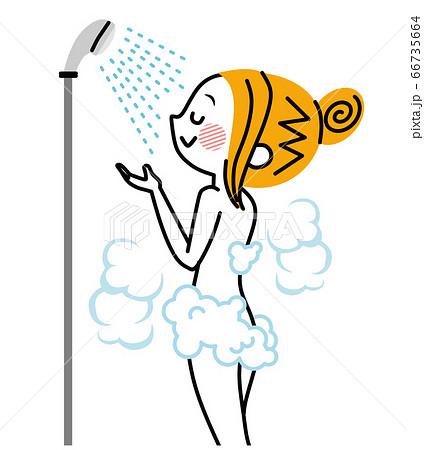 シャワーを浴びる女性 66735664