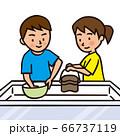 キャンプで炊事をする子供 66737119