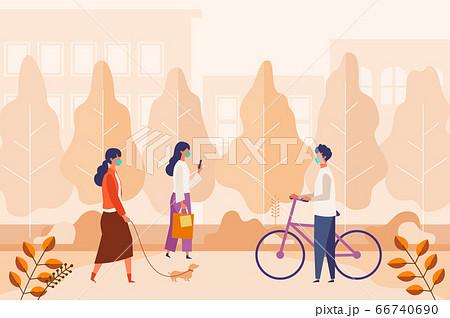 コロナ禍で秋の休日を公園で過ごす男女のイラスト 66740690