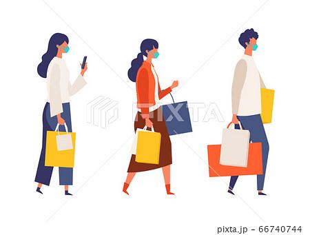 コロナ禍の秋のショッピングを楽しむ人々のイラスト。 66740744