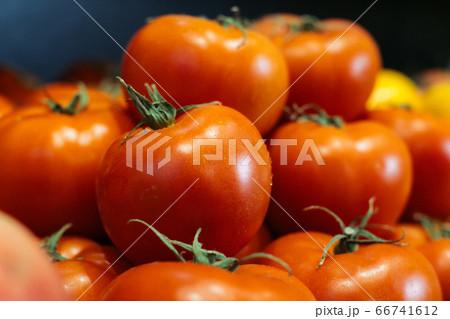 Wet fresh tomatoes on supermarket shelf. Red organic vegetables in grocery store. Healthy vegetarian food, nutrition, dieting. 66741612