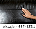 The woman's hand touching the surface of the sofa. 66748531