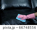 Woman wipe sofa with germicidal spray and wipe with towel. 66748556