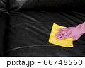Woman wipe sofa with germicidal spray and wipe with towel. 66748560
