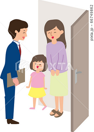 玄関先での家庭訪問 66749862