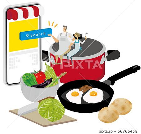 調理器具に乗って料理アプリを使用する夫婦 66766458