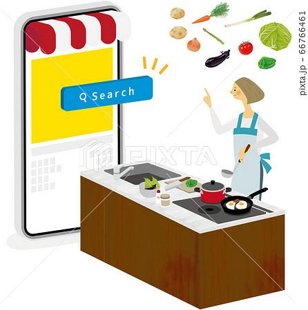 キッチンで料理アプリを使用する女性 66766461