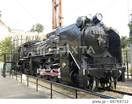 横浜市の本牧市民公園に静態保存されているD51形蒸気機関車(D51 516) 66769712
