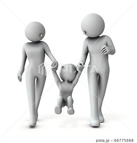 手をつないでブランコする若い家族。3Dレンダリング。 66775668