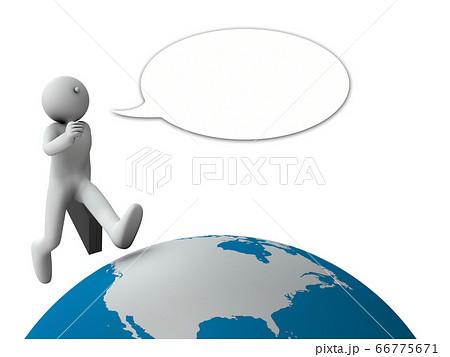 世界中を飛び回るアクティブな営業マン。3Dレンダリング 66775671