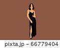 Elegant woman in black dress 66779404