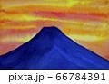 夕焼けの富士山 水彩画 66784391