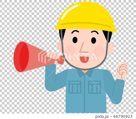 擴音器加油的男職工03的插圖 66790923