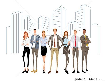 イラスト素材:人々、ビジネスシーン、チーム 66796299