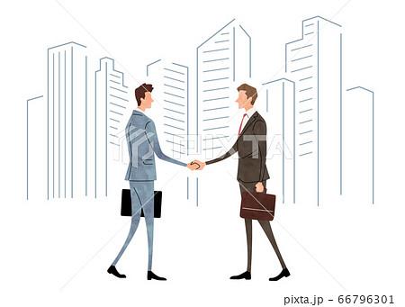 イラスト素材:ビジネスシーン、男性、握手 66796301