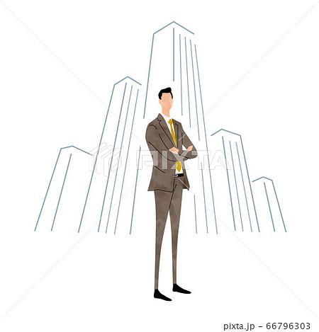 イラスト素材:ビジネスシーン、スーツ姿の若い男性 66796303