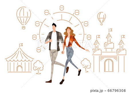 イラスト素材:手をつないで歩く若いカップル 66796308