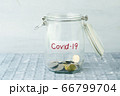 Money jar with covid19 label 66799704