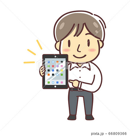 Ipadを持つシャツの男性のイラスト 全身 ホーム画面 のイラスト素材