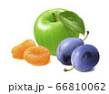 Green cooking apple, dry apricots and fresh plums isolated on white background 66810062